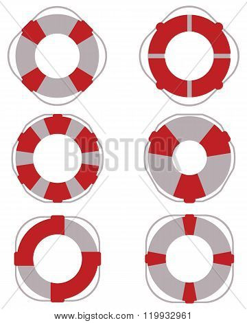 Icons of lifebuoy for salvage, vector illustration