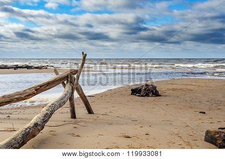 Baltic sea coastline near Saulkrasti town, Latvia