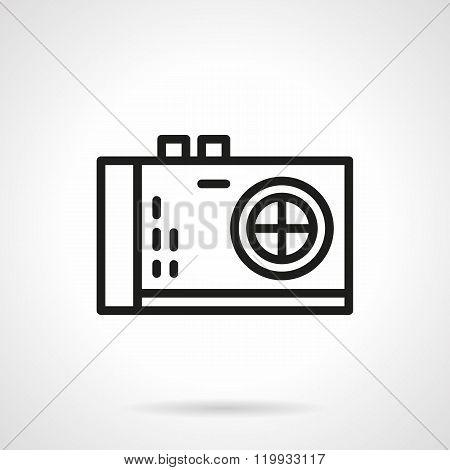 Photo camera black line design vector icon