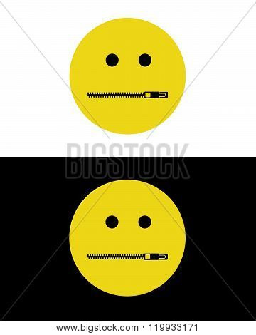 Vector Zipper Mouth Communication Emoticon
