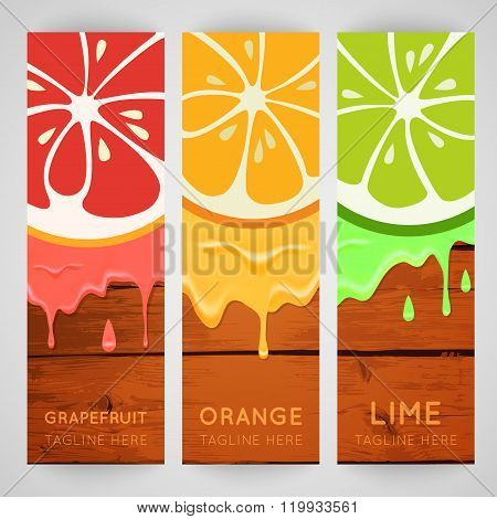 Three bright banner with stylized citrus fruit and splashes