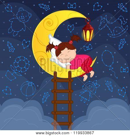 baby girl sleeping on the moon among the stars