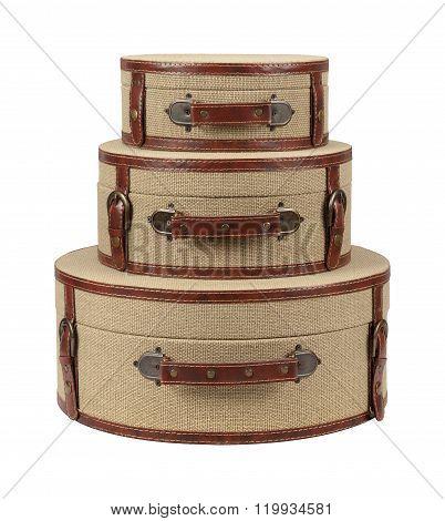 Three Round Deco Burlap Suitcases