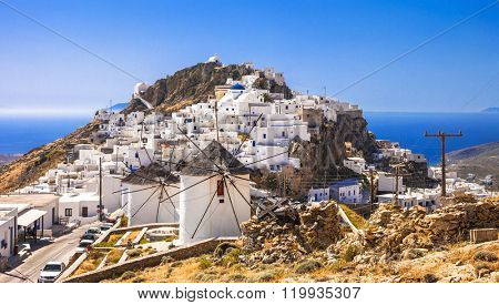 Serifos island, view of Chora village and windmills. Greece, Cyc