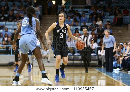 CHAPEL HILL, NC-FEB 28: Duke Blue Devils guard Angela Salvadores (3) dribbles as University of North Carolina Tar Heels guard Destinee Walker (24) defends on February 28, 2016 at Carmichael Arena.