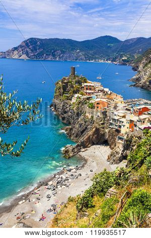 Vernazza - beautiful village in Ligurian coast of Italy , famous