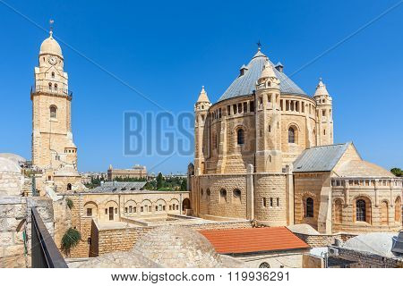 Exterior view of Church of Dormition in Old City of Jerusalem, Israel.