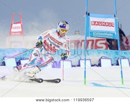 Alexis Pinturault Skiing At A Slalom Event