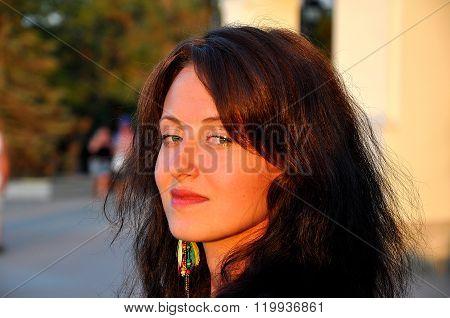 Sensual Woman In Sunset