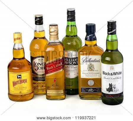 Whiskey Bottles On White