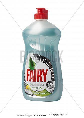 CHISINAU MOLDOVA - FEBRUARY 23 2016: Bottle of Lemon Fairy Washing up Liquid
