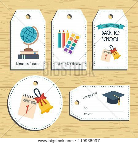 Back To School Gift Tags. Ready To Use. Back To School Greeting. Flat Design. Vector
