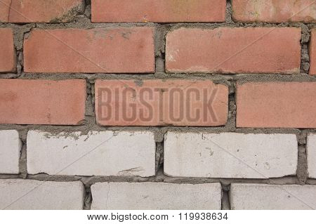 wall of the new red and white bricks