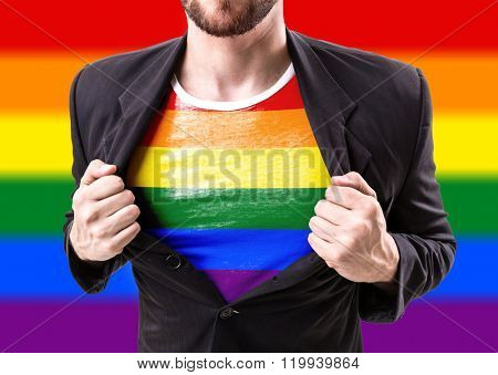 Businessman stretching suit with Rainbow Flag (LGBT Movement)