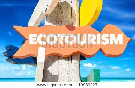 Ecotourism sign with beach background