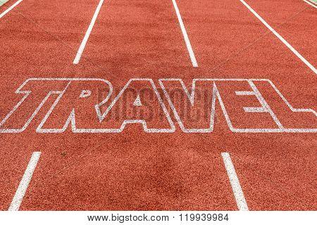 Travel written on running track