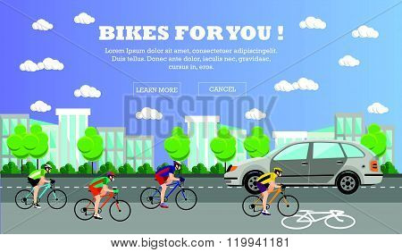 Group of cycle riders on bikes. Street with bicycle line. Vector illustration in flat style design.