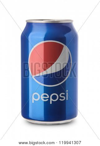 Samara, Russia - February 26, 2016: A product shot of an unopened  can of Pepsi isolated on white background. Pepsi is manufactured by Pepsico Inc.