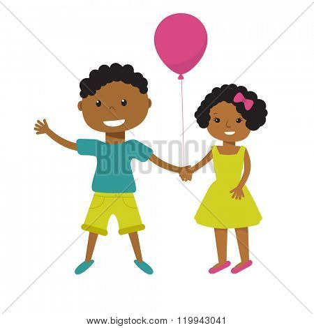Two cute cartoon african american children with pink balloon holding hands. Older boy and smaller girl, brother and sister, or friends illustration