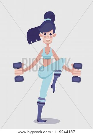 Young Adult Girl Flat Vector Fitness Character.