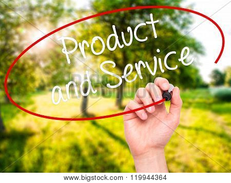 Man Hand Writing Product And Service With Black Marker On Visual Screen.