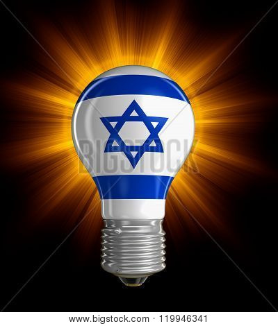Light bulb with Israeli flag.  Image with clipping path