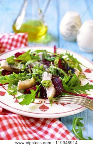 Fresh Salad From Beetroot,herring,arugula And Chard Leaves.