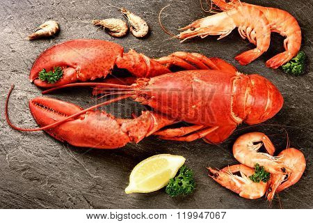 Fine Selection Of Crustacean For Dinner. Lobster And Shrimps On Stone Plate
