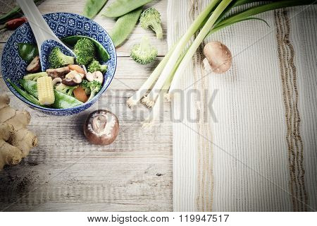 Asian Stir-fried Vegetables. Food Background