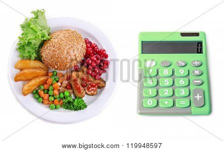 Calculator and beef with cranberry sauce, roasted potato slices, vegetables and bun on plate isolated on white