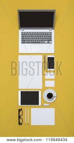 Tall top view Letterhead and identity design template on yellow background