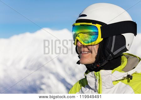 Close portrait of skier woman