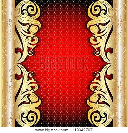 Rich Gold Antique Tracery Background. East Style.