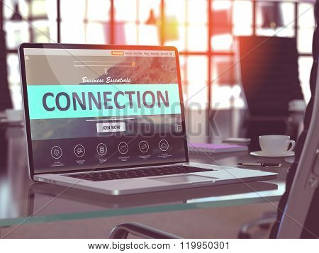 Connection Concept on Laptop Screen.