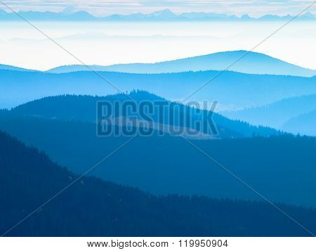 Panorama Black Forest with Alps early at morning