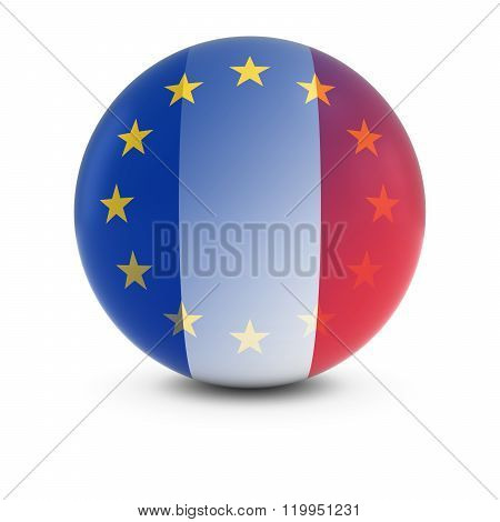 French And European Flag Ball - Fading Flags Of France And The Eu