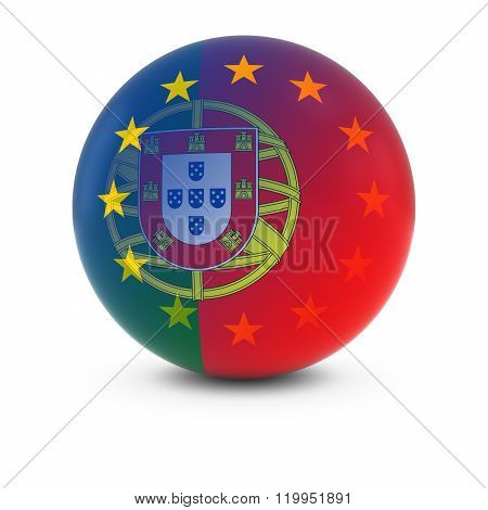 Portuguese And European Flag Ball - Fading Flags Of Portugal And The Eu