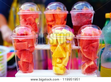 Colorful Tropical Fruits Prepared For Smoothie On Street Market