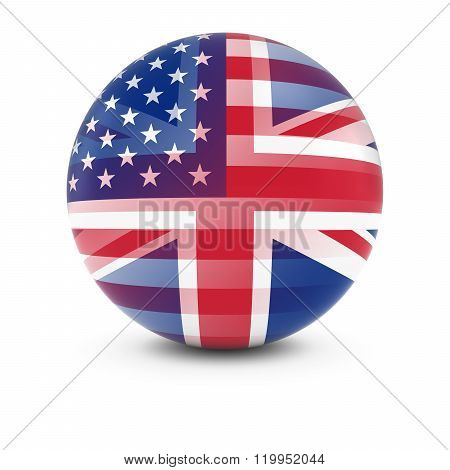 American And British Flag Ball - Fading Flags Of The Usa And The Uk