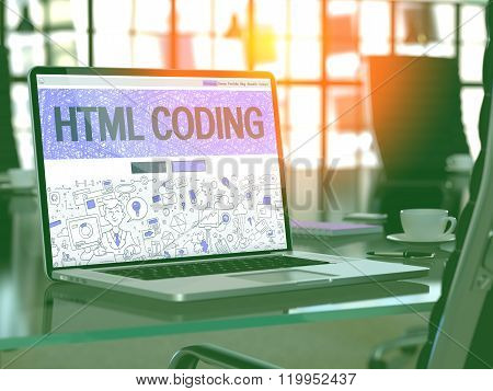 HTML Coding Concept on Laptop Screen.