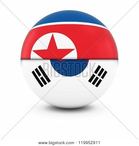 North and South Korean Flag Ball - Split Flags of North Korea and South Korea - 3D Illustration