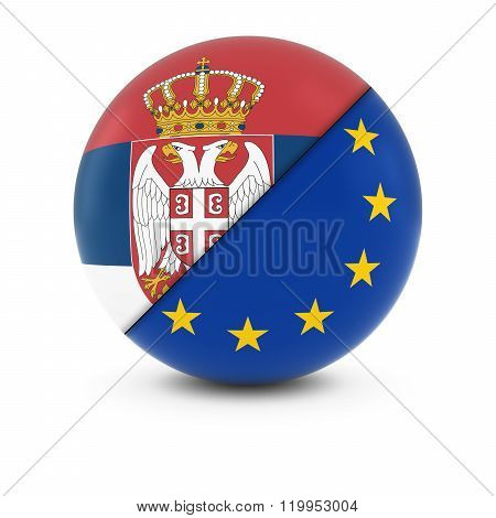 Serbian and European Flag Ball - Split Flags of Serbia and the EU - 3D Illustration