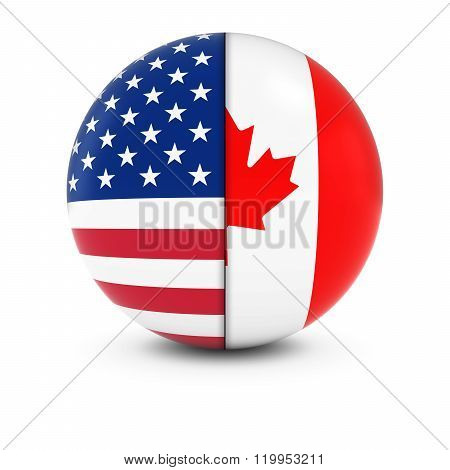 American And Canadian Flag Ball - Split Flags Of The Usa And Canada