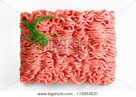 Forcemeat isolated on white background. Top view.