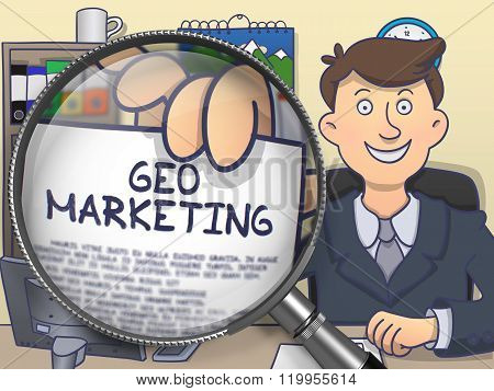 Geo Marketing through Magnifier. Doodle Design.