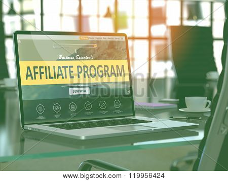 Affiliate Program Concept on Laptop Screen.
