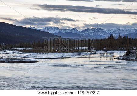 Saskatchewan River near Nordegg in Winter Alberta Canada