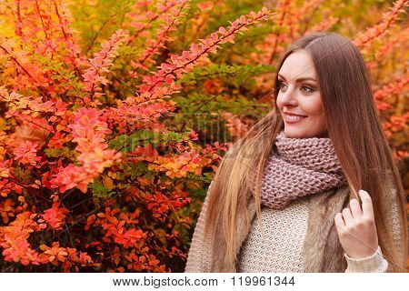 Fashionable Girl Outdoors. Autumn