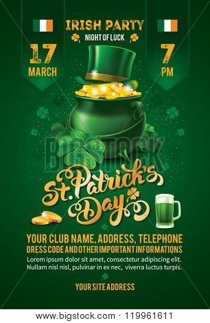 Saint Patricks Day Invitation Card Design with Treasure of Leprechaun on Blurred Green Background. Calligraphic Lettering Inscription Happy St Patricks Day. Vector Illustration.