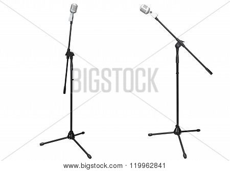 stage microphone isolated on white background
